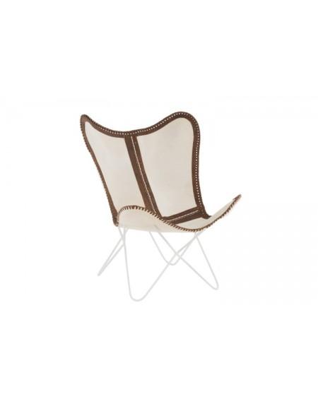 Fotel Leather/Metal White/Brown