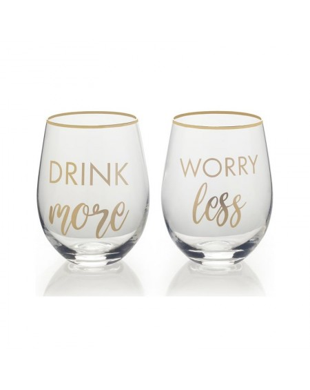 Szklanka 2 szt. Drink More Worry Less