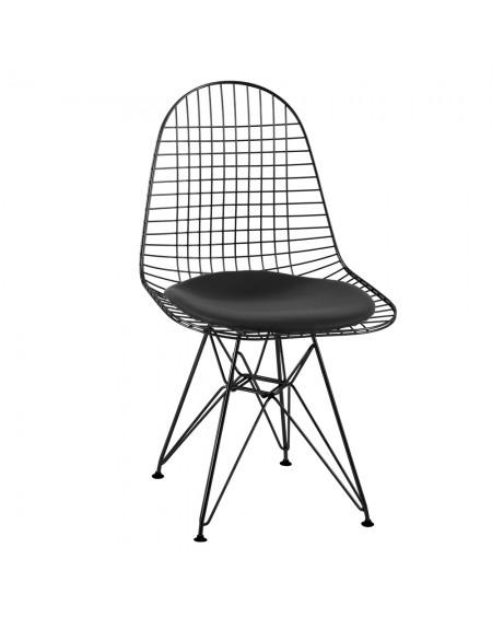 Krzesło Nest BLACK czarne - czarna poduszka