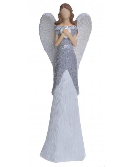 Figurka Anioł biało-szary niski