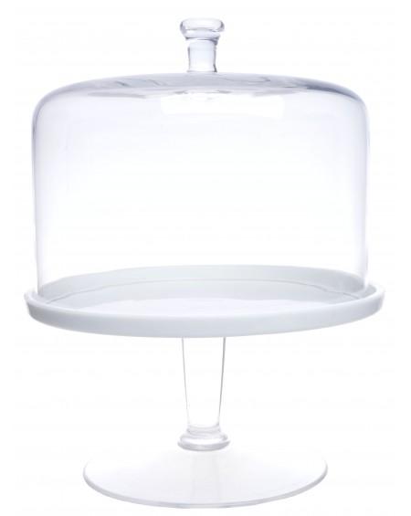 Patera biała ze szklaną pokrywą