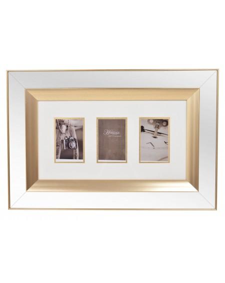 Ramka lustrzana na 3 zdjęcia złota