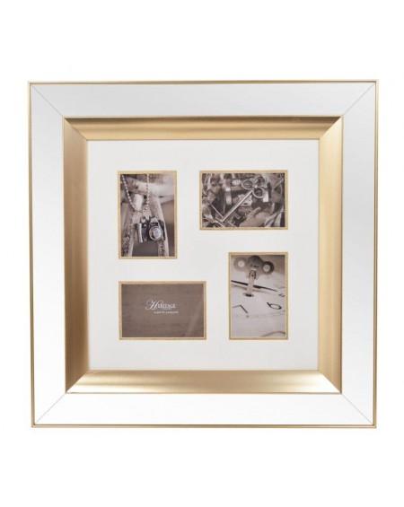 Ramka lustrzana na 4 zdjęcia złota