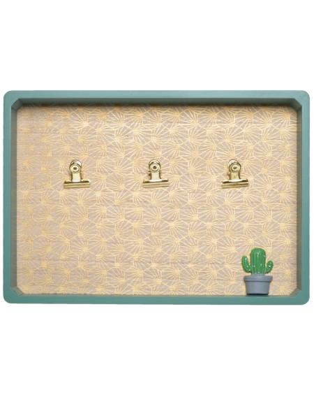 Tablica memo zielono-złota z kaktusem