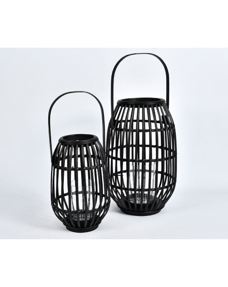 Lampion 2 szt. bambus czarny
