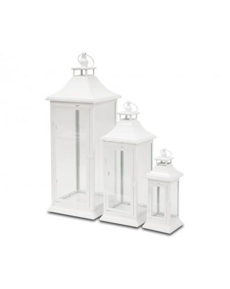 Lampion metalowy biały 3 szt. Garden