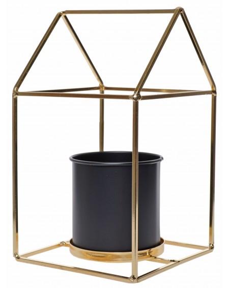 Kwietnik metalowy domek pojedynczy złoty