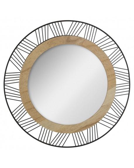 Lustro okrągłe metal drewno
