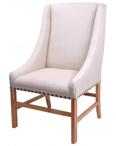 Fotel dębowe nogi lniane obicie