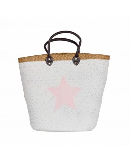 Kosz plażowy biały z różową gwiazdką S