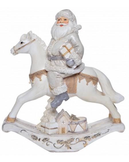 Koń na biegunach z Mikołajem kremowy