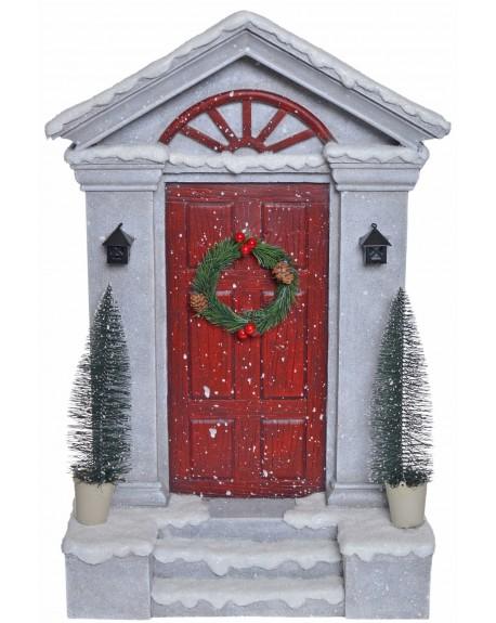 Dekoracja dzrwi świąteczne z choinkami