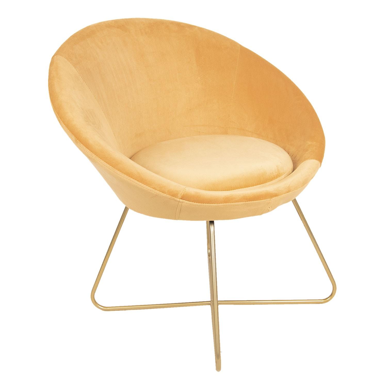 Fotel okrągły z poduszką na złotych nogach MIA home passion