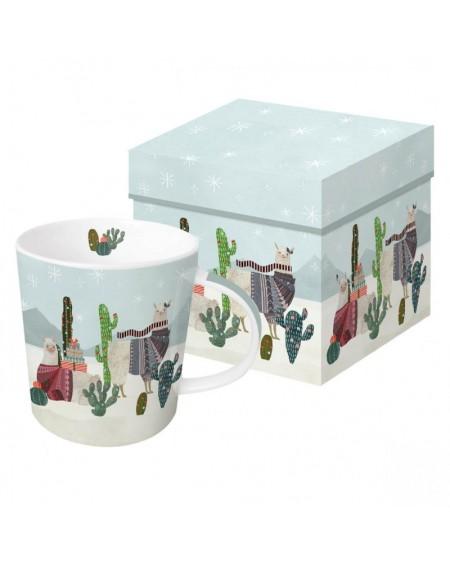 Kubek porcelanowy w pudełku Lama świąteczna