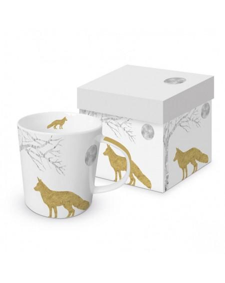 Kubek porcelanowy Fox gold