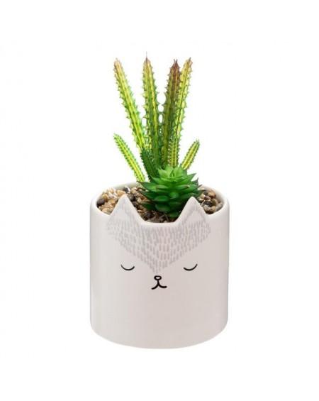 Sztuczny kwiat w donicy z kotem MEOW