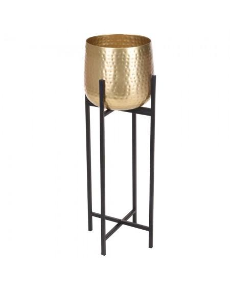 Kwietnik metalowy na nóżkach stare złoto 74 cm