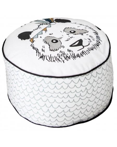 Poduszka pufa na podłodze Panda