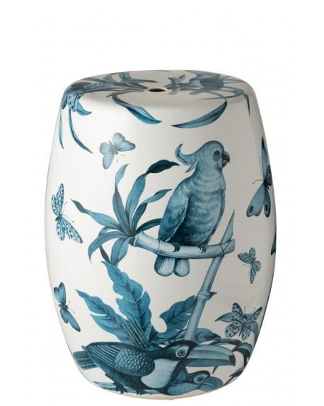 Stołek pufa ceramiczna Birds of Paradise