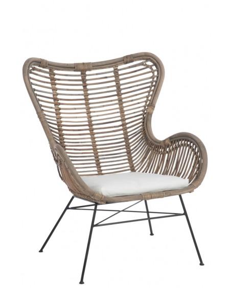 Fotel rattanowy z poduszką
