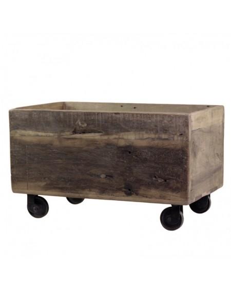 Skrzynia na kółkach z drewna z odzysku
