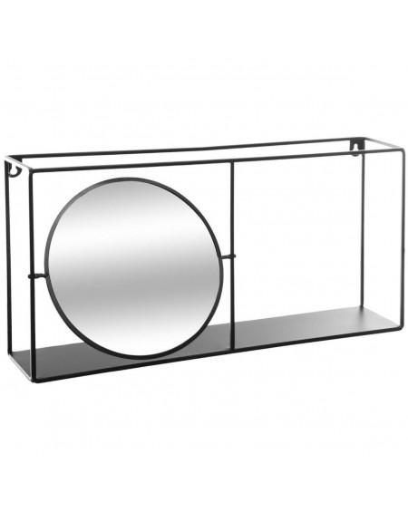 Półke metalowa z lustrem czarna