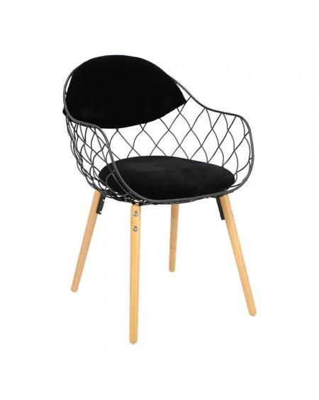 Krzesło metalowe z poduszką Cage