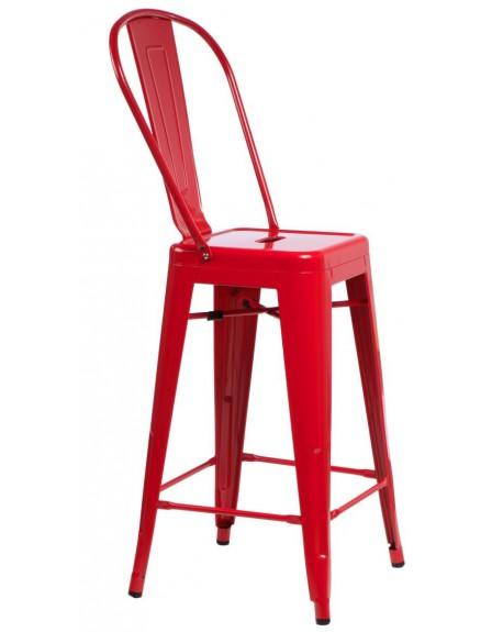 Stołek barowy z oparciem Metalowe red