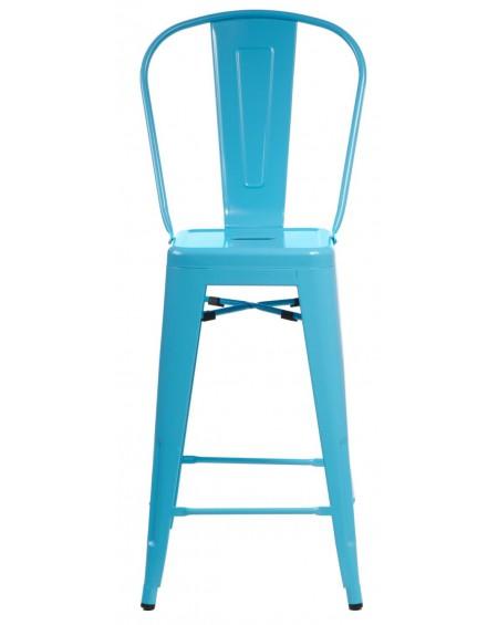 Stołek barowy z oparciem Metalove blue