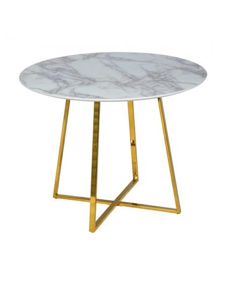 Stół CARAT - MDF, złota podstawa