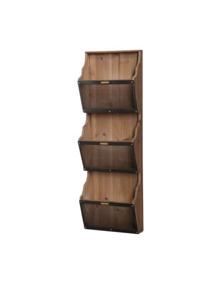 Gazetnik drewniany z metalową siatką