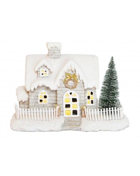 Domek świąteczny podświetlany LED z choinką