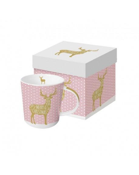Kubek porcelanowy Jelonek różowo-złoty