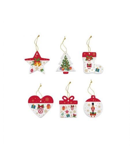 Zawieszka 6 sztuk porcelanowa Christmas