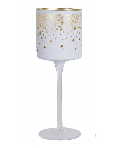 Kielich szklany biały w złote gwiazdki