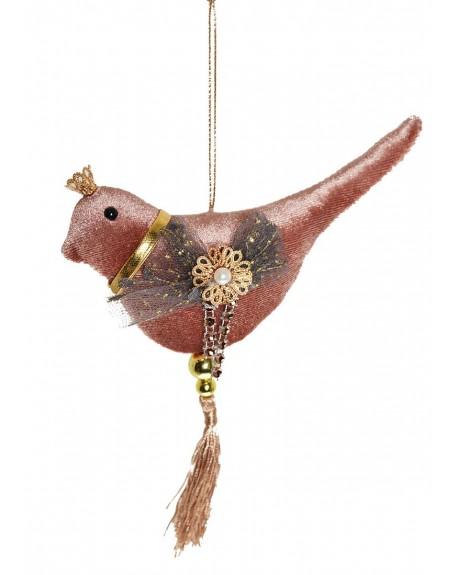 Zawieszka welurowa ptaszek w koronie