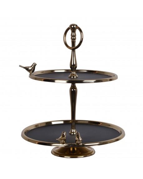 Paterapodwójna złoto-czarna z ptaszkami
