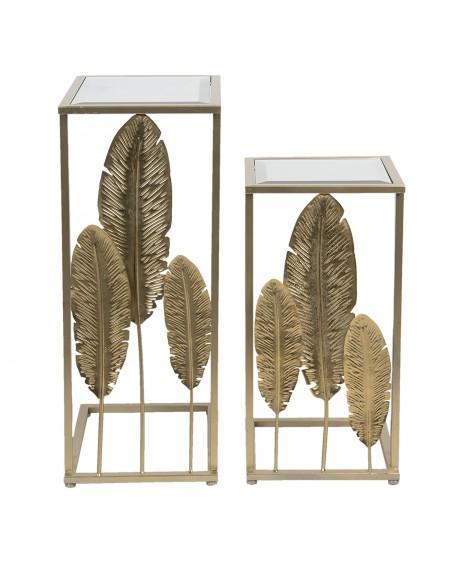 Stolik metalowy 2 szt. złoty Leaf