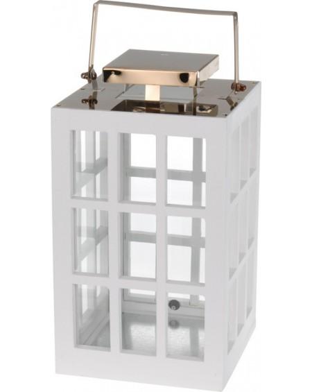 Lampion drewniany biało-miedziany