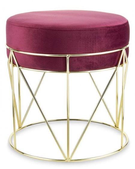 Pufa stołek na złotej podstawie Leila
