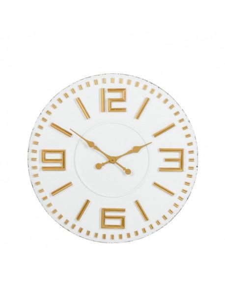 Zegar drewniany biało-złoty