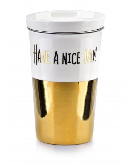 Kubek z pokrywką i zaparzaczem Nice