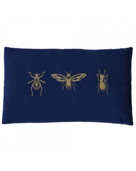 Poduszka aksamitna ze złotymi owadami