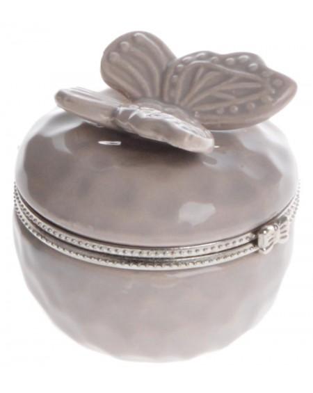 Puzderko ceramiczne z motylem beżowe