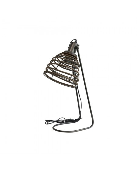 Lampa stołowa z rattanowym abażurem