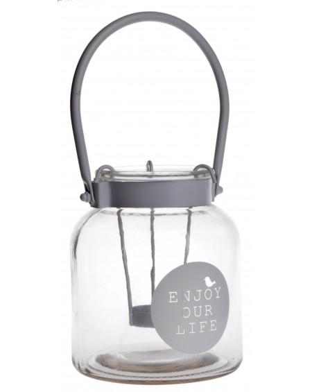 Lampion szklany Enjoy Your life mniejszy