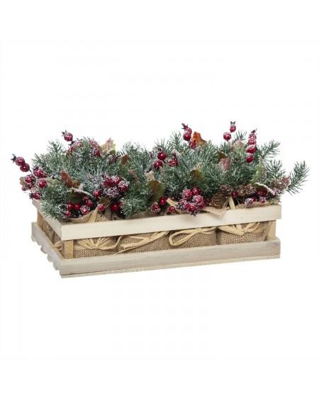 Dekoracja świąteczna w drewnianej skrzynce