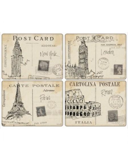 Podkładka korkowa 4 szt. duża Postcard