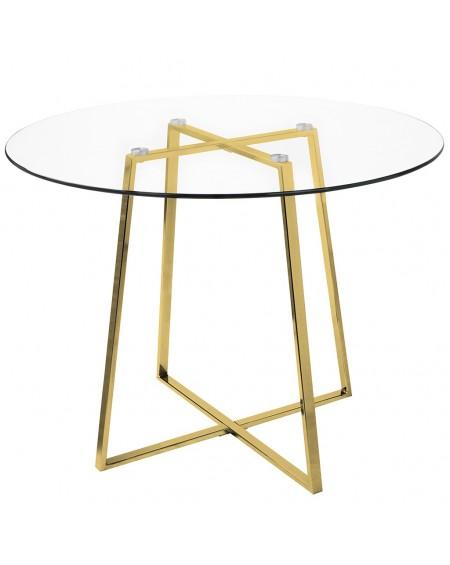 Stół CARAT GLASS 100 - szkło, złota podstawa