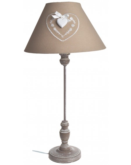 Lampa beżowa z abażurem z sercem